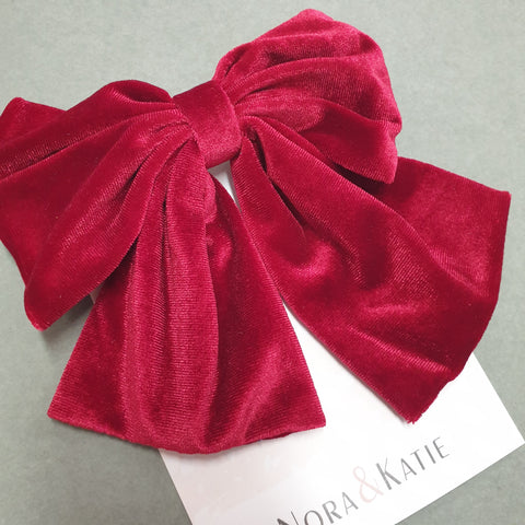 Traditional velvet hair bow - red