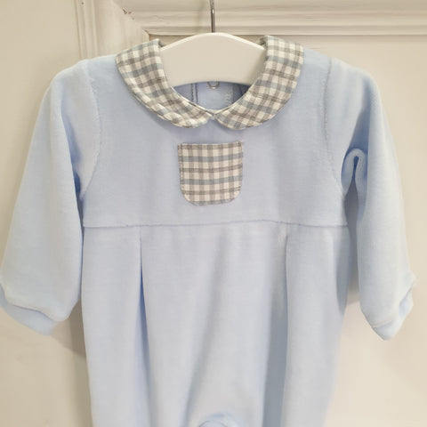 Blue check LONG SLEEVE FOOTIE WITH PETER PAN COLLAR