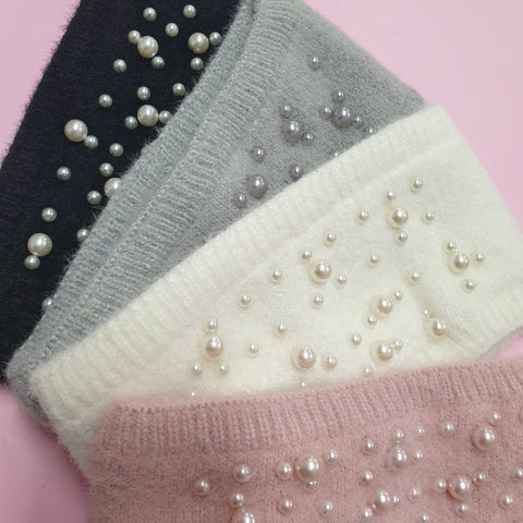 Pearl Ear Warmer - Winter Knit Headband