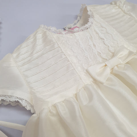 Beth - raw silk ivory christening gown