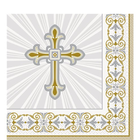 Silver & Gold Radiant Cross Napkins - 33cm