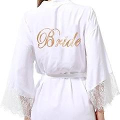 White cotton Bride Dressing Gown