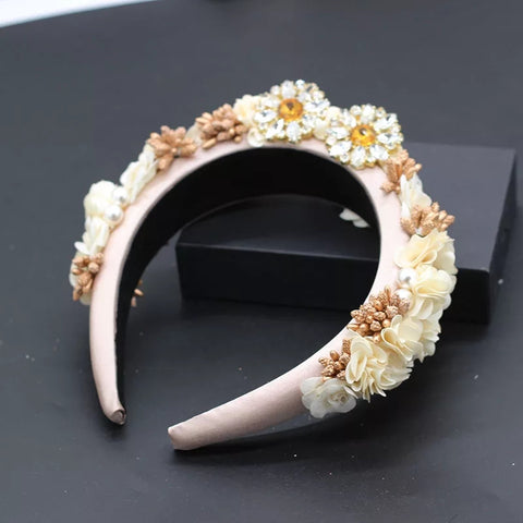 Cream floral embellished hairband