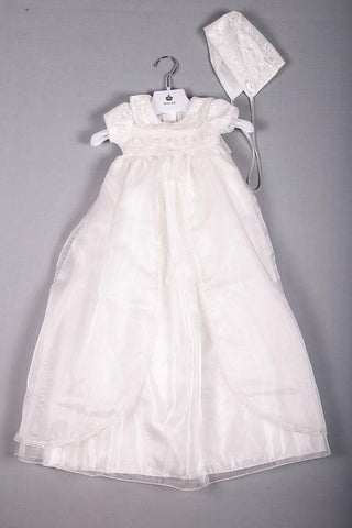 Roses & collar long Christening gown
