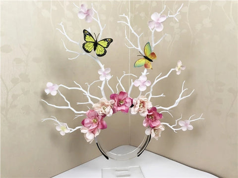 Butterfly twig flower hairband