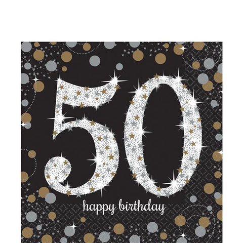 Sparkling Celebration  50th Party Napkins Silver & Gold