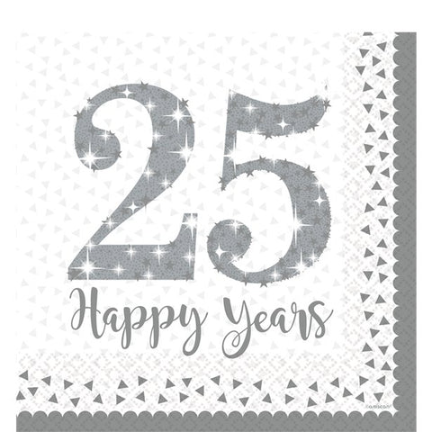 25th Silver Sparkling Wedding Anniversary Napkins - 33cm