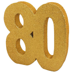 Age 80 Gold Glitter Table Decoration - 20cm