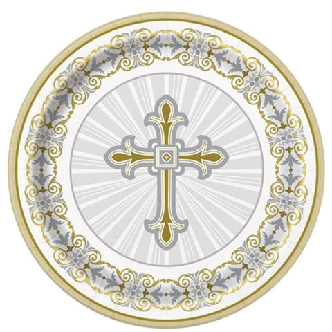 Silver & Gold Radiant Cross Dessert Plates - 18cm Paper Party Plates