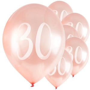 "Rose Gold 30th Birthday Balloons - 12"" Latex 5pk"