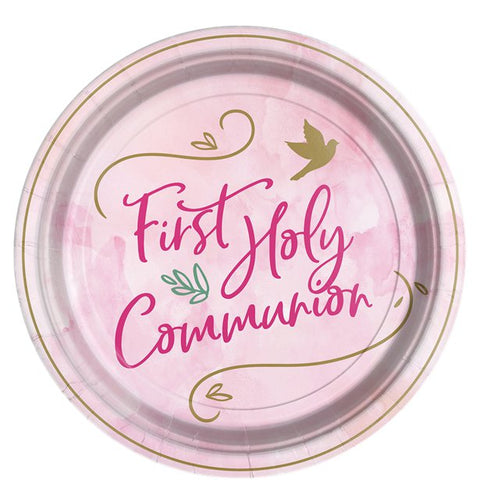 Pink First Communion Paper Plates - 23cm