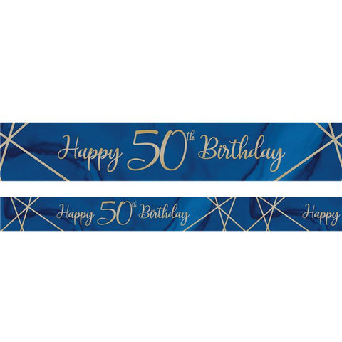 Navy & Gold Geode 50th Birthday Banner - 2.74m