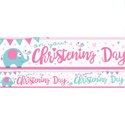 Christening Day Paper Banners 1 design 1m each 3pk