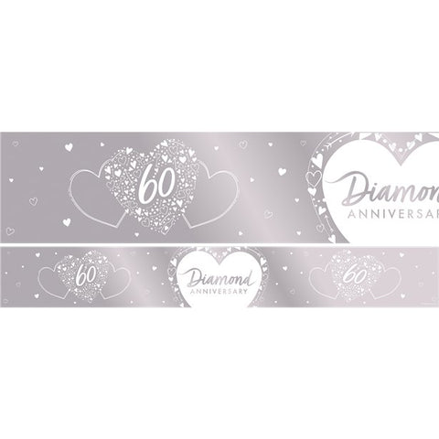 60th Diamond Wedding Anniversary Foil Banner - 2.74m