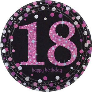 18th Birthday Pink Celebration Party Plates