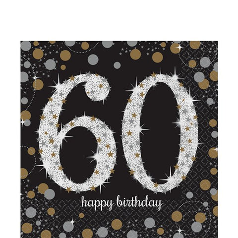 Sparkling Celebration Age 60 Lunch Napkins - 2ply Paper Gold & silver