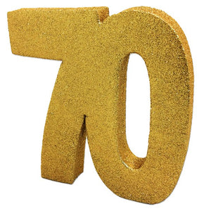 Age 70 Gold Glitter Table Decoration - 20cm