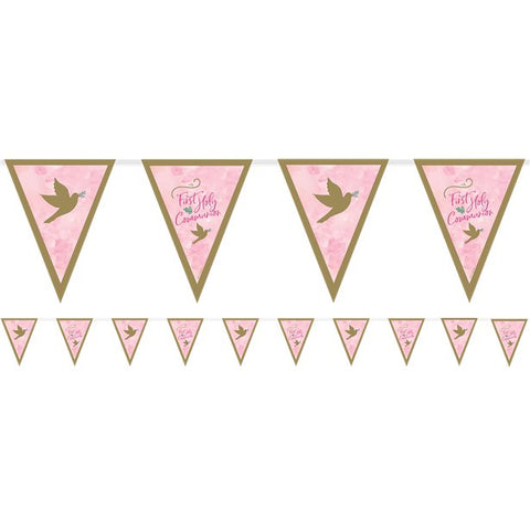 Pink First Communion Pennant Bunting - 4m