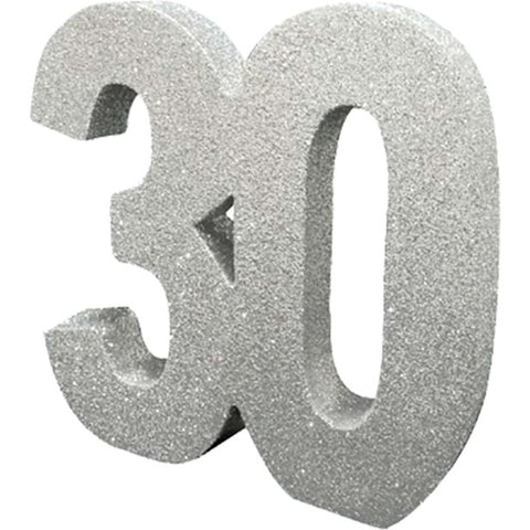 30th Silver Glitter Table Decoration - 20cm