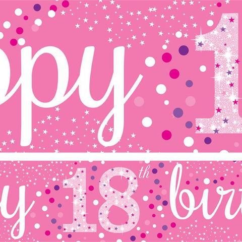 18th Birthday Pink Paper Banners 1 design 1m each - 3 pack