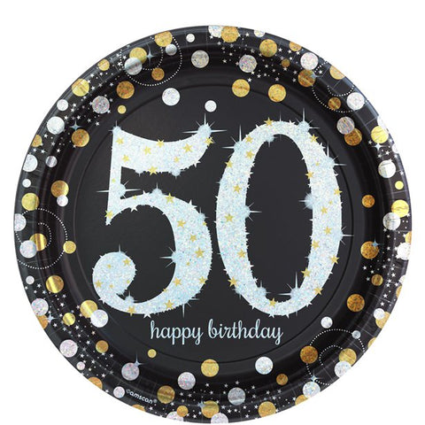 Sparkling Celebration Age 50 Plates - 23cm Paper Party Plates