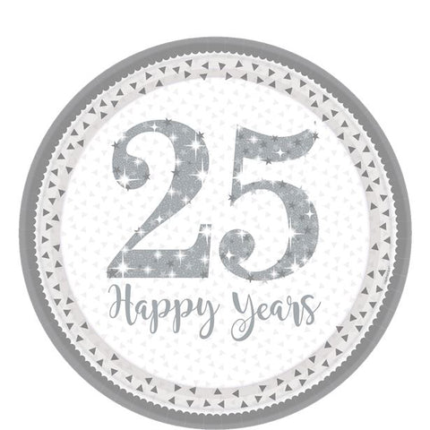 25th Silver Sparkling Wedding Anniversary Plates - 23cm Paper Plates