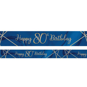 Navy & Gold Geode 80th Birthday Banner - 2.74m