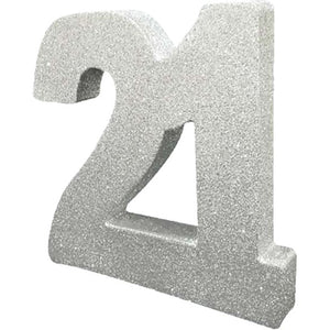 Age 21 Silver Glitter Table Decoration - 20cm