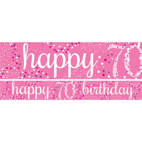 70th Birthday Paper Banners 1 design 1m each - 3 pack pink