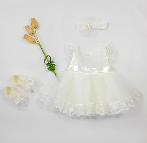 Baby ivory dress with embroidery lace