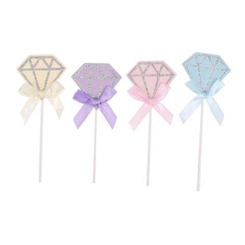 Pastel Diamond Cupcake Toppers