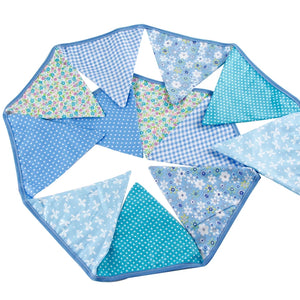 Blue Pastel floral cotton bunting blue