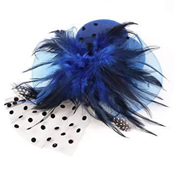 Cobalt Blue and black fascinator feather hat