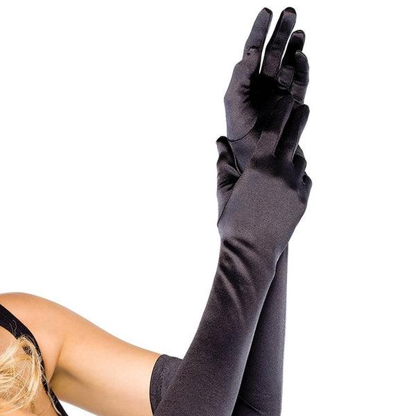 Black Elbow Length Satin Gloves