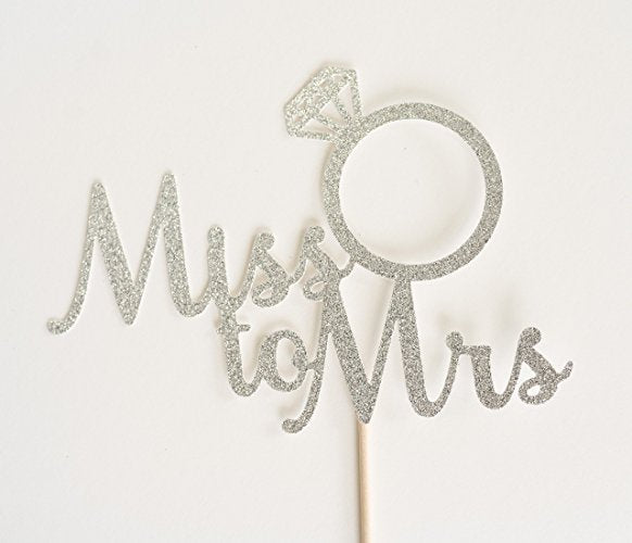Silver Glitter Miss to Mrs Cake Topper