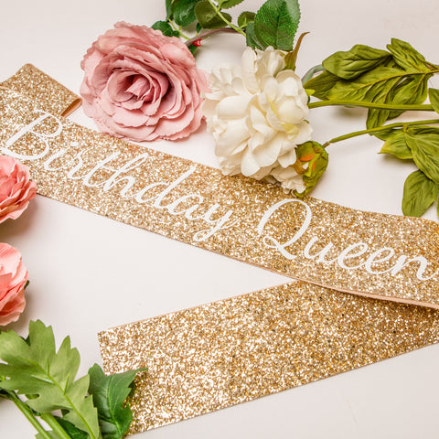 Gold Birthday Queen Sash - Adult Birthday Party