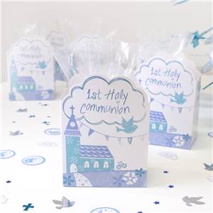 First Holy Communion Blue Favour Gift Boxes