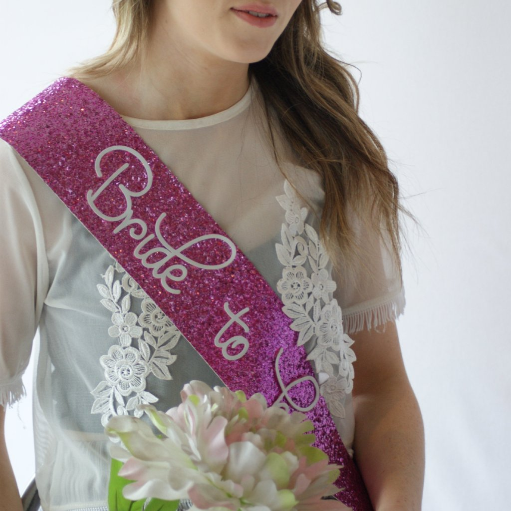 Bride to be Sash - FUSCHIA PINK Glitter