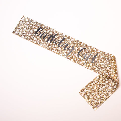 Gold Stars Birthday Girl Sash - Little Stars Party