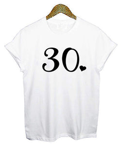 30th White Birthday T-Shirt