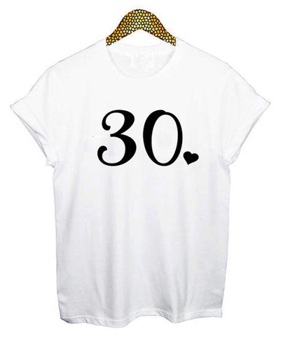 30th White Birthday T-Shirt     WAS £12.99