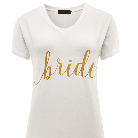 White and Gold Bride t shirt top