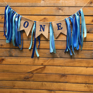1st Birthday Cake Smash / Highchair garland Blue