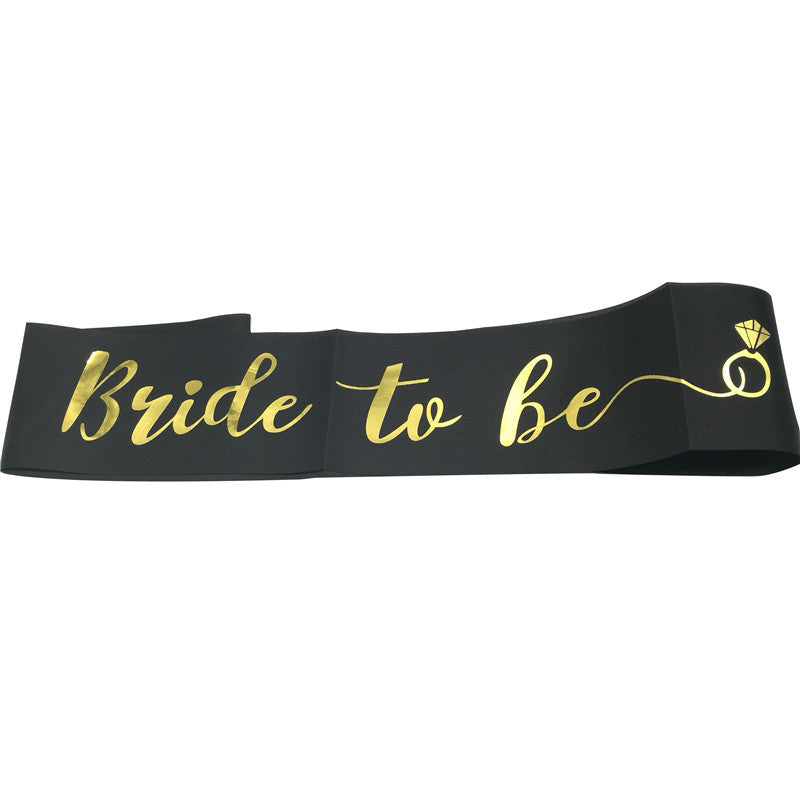 Bride to Be Satin Black Sash with Gold Foil Text