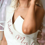 Bride to be White Glitter Sash - Rose Gold Hen Party