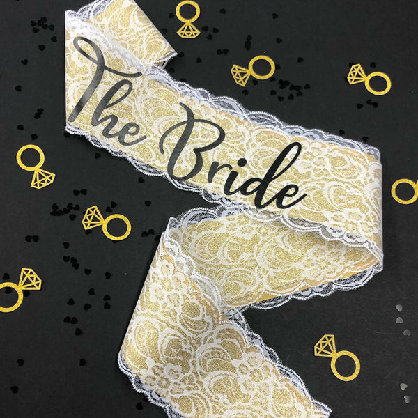 Gold Lace The Bride Sash - Little Black Dress Hen Party