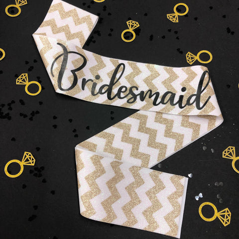 Gold Bridesmaid glitter sash - Little Black Dress Hen Party