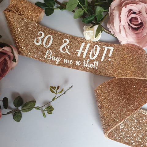 Rose Gold 30th Birthday Sash - Adult Birthday Party
