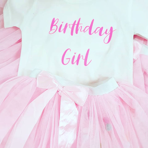 Birthday Girl Tshirt & Tutu Set - Pom Pom Party
