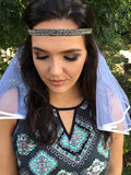 Metallic grey sequin headband with Veil